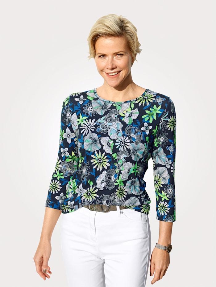 Rabe T-shirt à imprimé floral, Marine/Vert