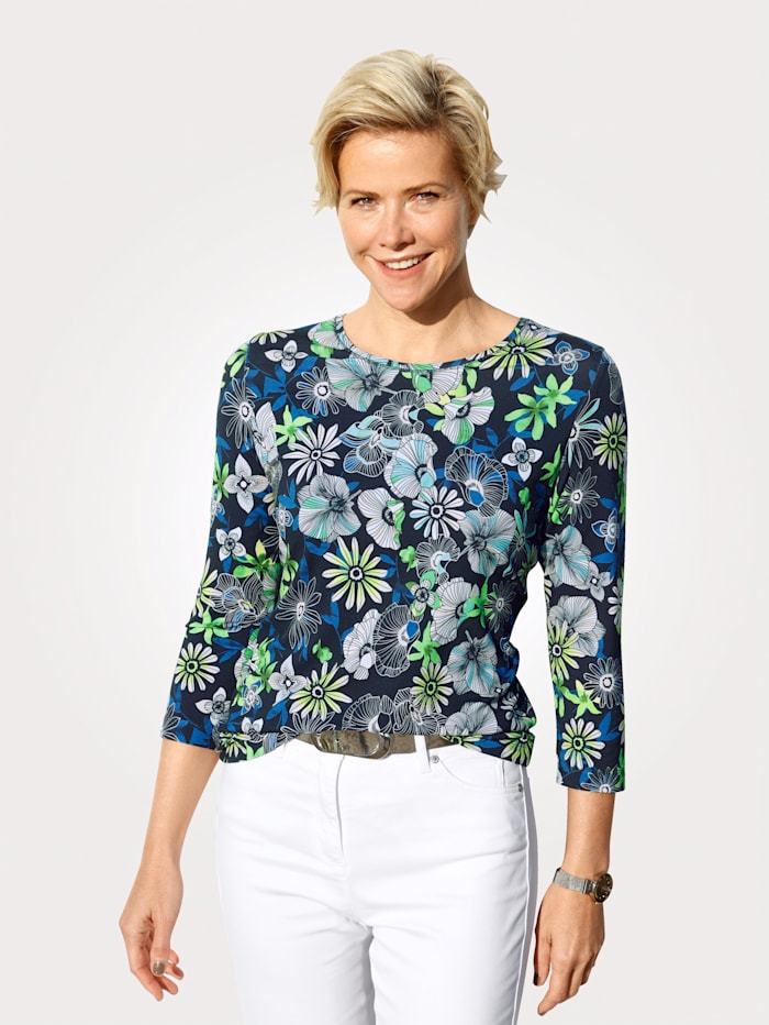 Rabe Top with a floral print, Navy/Green