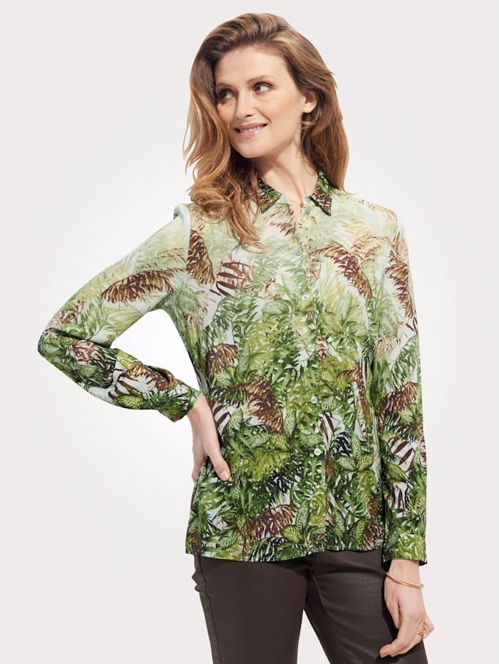 MONA Blouse met bloemenprint, Groen/Bruin/Lichtgroen