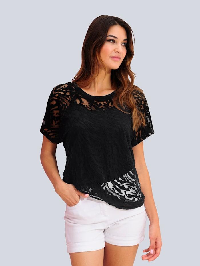 Alba Moda Shirt met ausbrennerdessin, Zwart