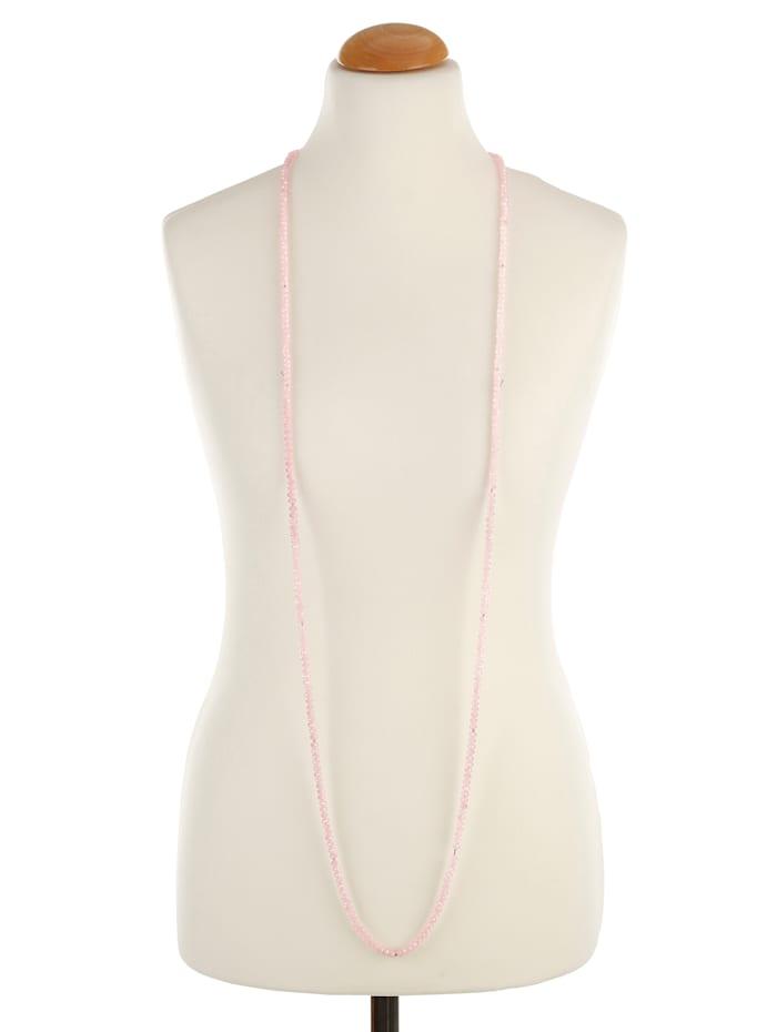 Halskette aus rosafarbenen Glasperlen