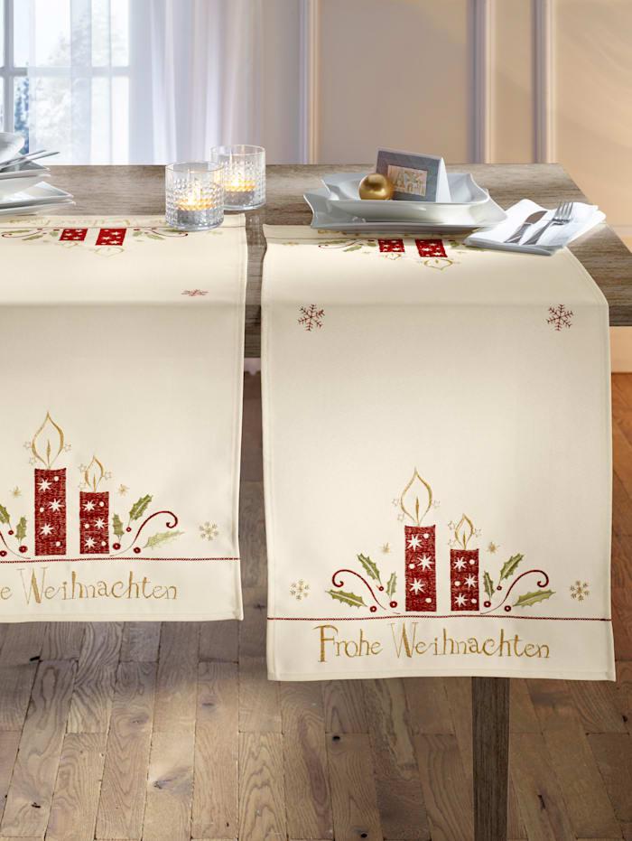Webschatz Tischwäsche 'Frohe Weihnachten', Natur/Rot