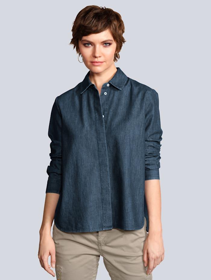 Seidensticker Schwarze Rose Spijkerblouse in uitlopend model, Blauw