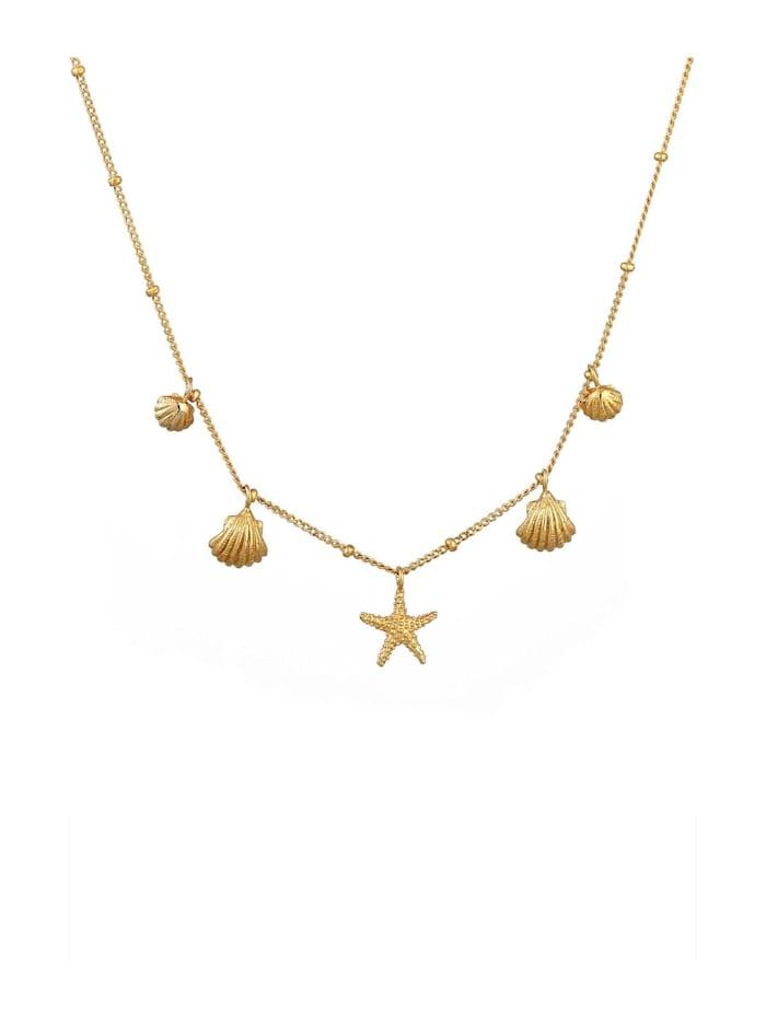 Halskette Muscheln Seestern Kugelkette Maritim 925 Silber