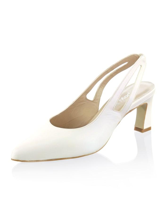 Alba Moda Slingpumps aus hochwertigem Ziegennappaleder, Off-white