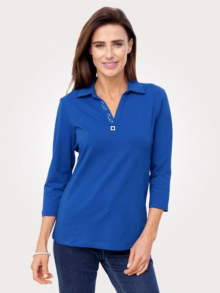 MONA Poloshirt mit Zierschnalle, Royalblau