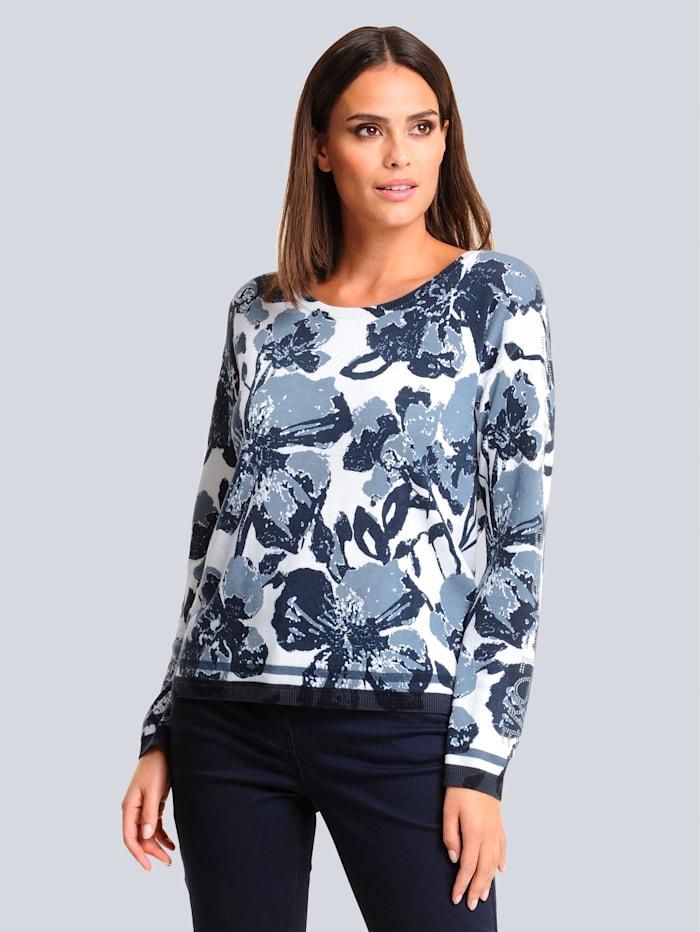 Alba Moda Pullover mit exklusivem Dessin, Marineblau/Weiß