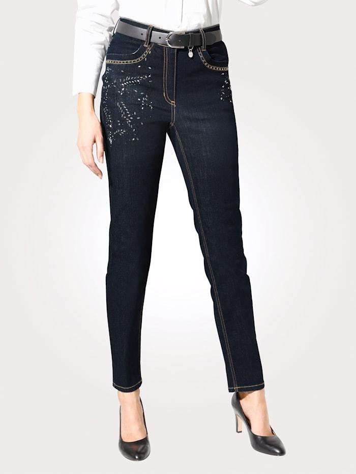 MONA Jeans mit floraler Strasszier, Dunkelblau