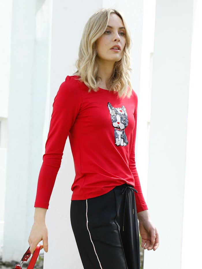 AMY VERMONT Shirt mit Katzen-Motiv aus Pailletten, Rot