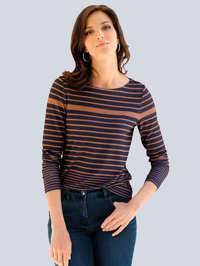 Alba Moda Shirt im Streifendessin allover, Marineblau/Cognac