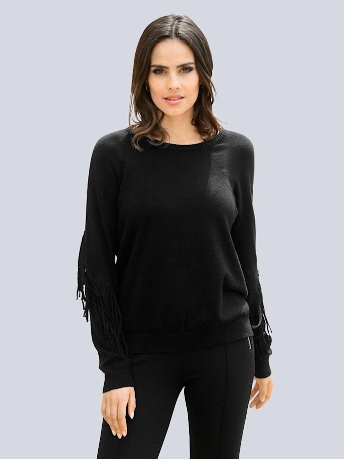 Alba Moda Pullover mit Fransenverarbeitung am Arm, Schwarz