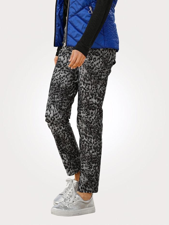 MONA Pantalon en twill fin extensible, Gris/Noir