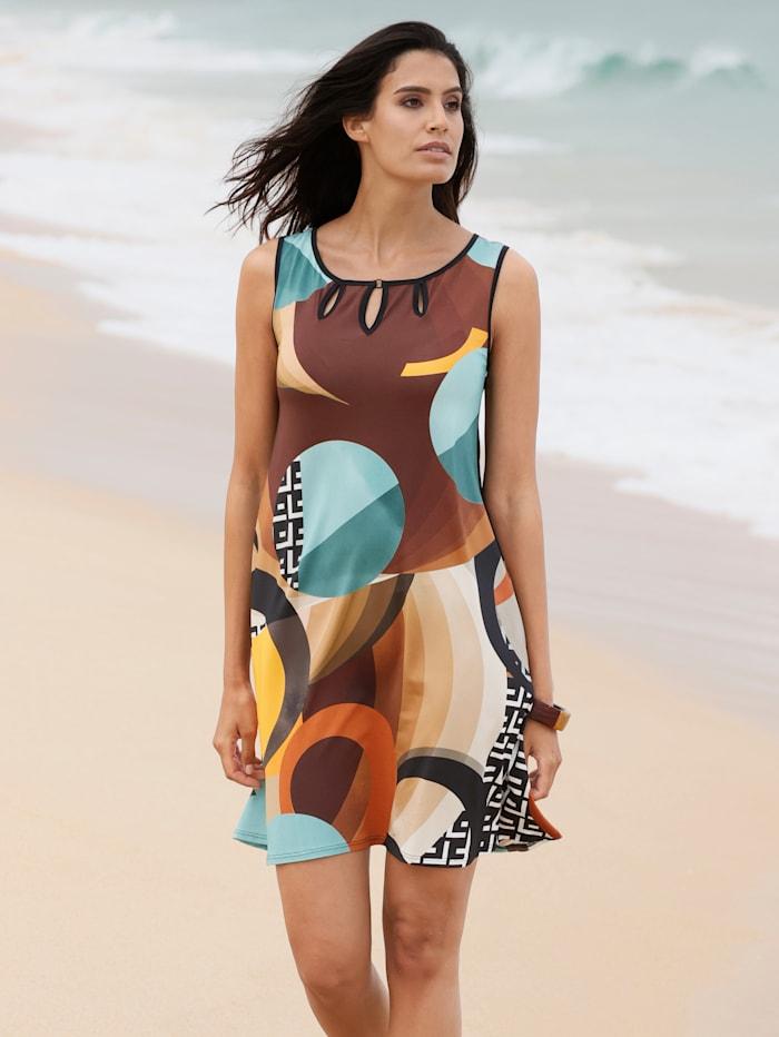 Sunflair Strandkleid mit Cut-Outs am Ausschnitt, Braun/Petrol/Orange