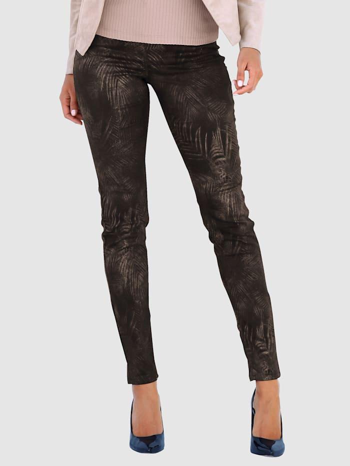 AMY VERMONT Hose mit floralem Muster, Schwarz/Kupferfarben