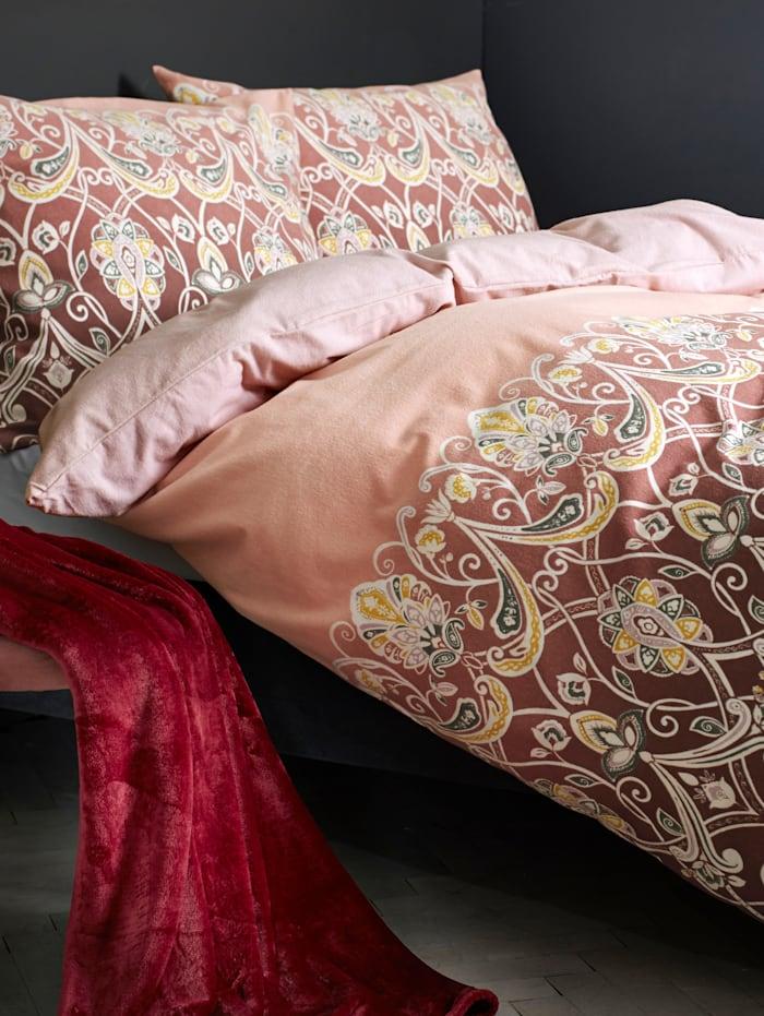 Dormisette Biber Bettwäsche 'Marianne' 2tlg., rosé grau