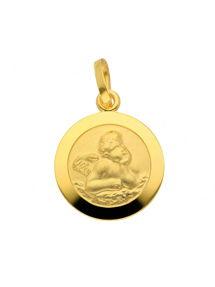 1001 Diamonds Damen Goldschmuck 585 Gold Anhänger Amor Ø 12 mm, gold