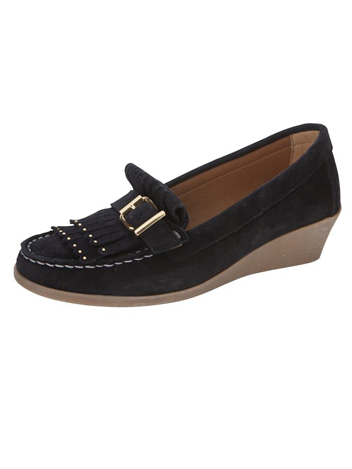 Filipe Shoes Keilpumps in Mokassin-Optik, Marineblau