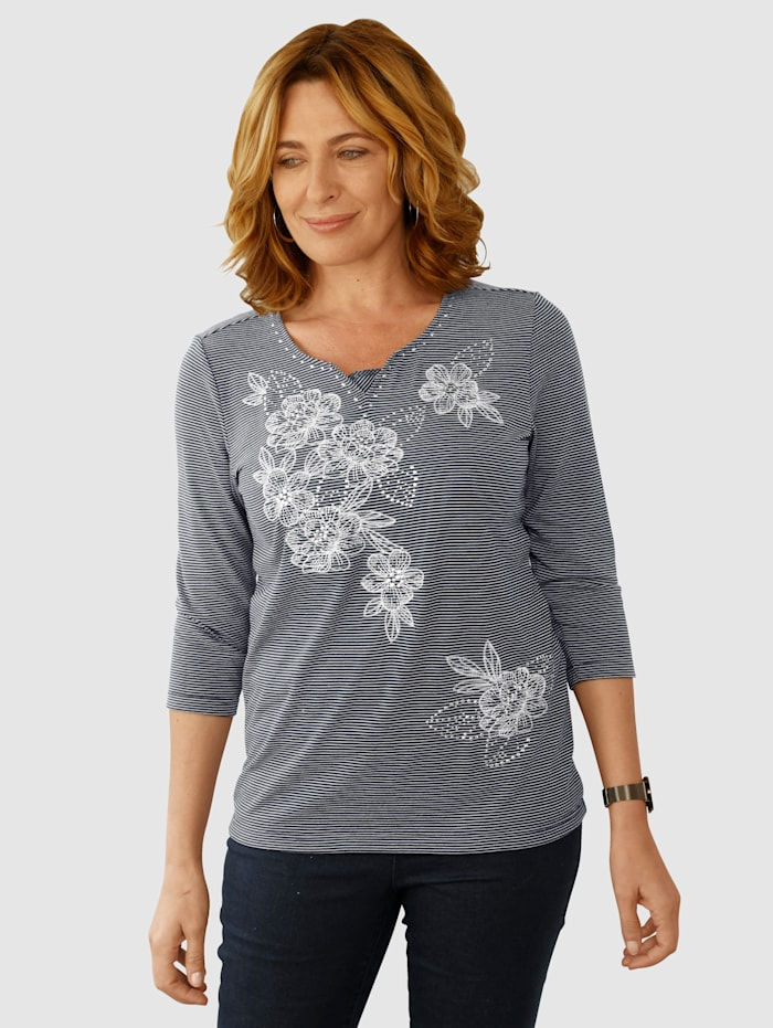 Paola Shirt mit aufwendiger Blumenstickerei, Marineblau/Weiß