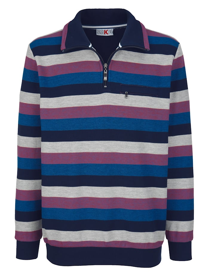 Roger Kent Sweatshirt med garnfärgade ränder, Marinblå/Kungsblå/Silvergrå