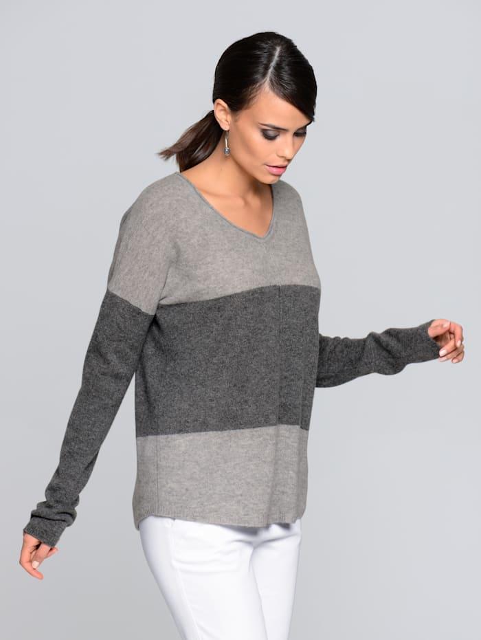 Alba Moda Pull-over en cachemire à aspect bloc de couleurs, Anthracite/Gris clair