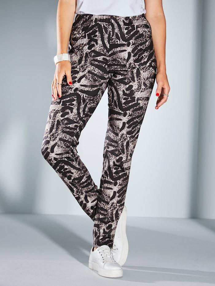 MIAMODA Jersey broek met animaldessin, Zwart/Bruin