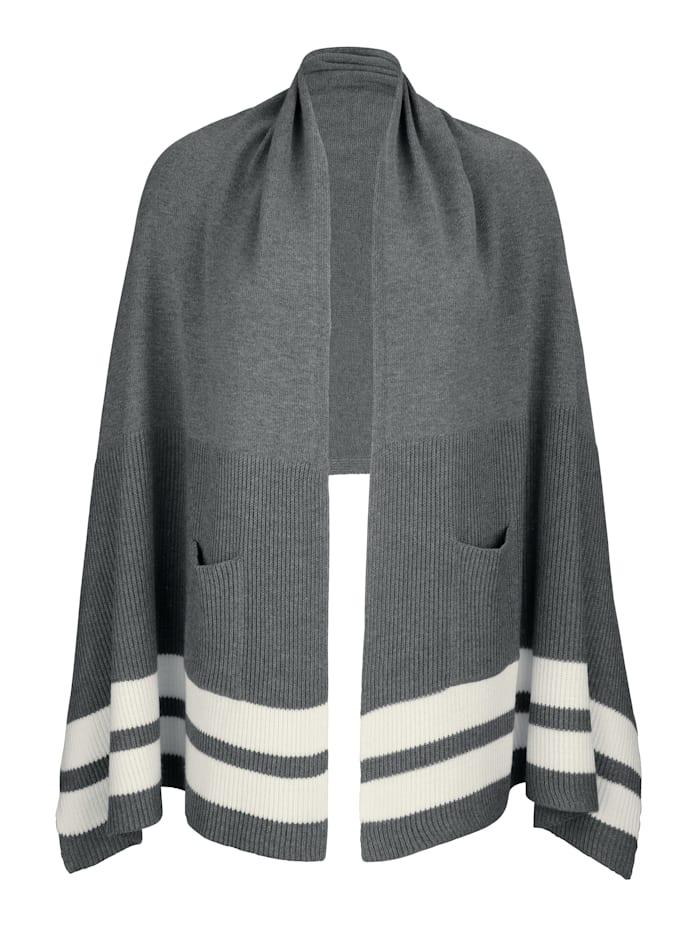 MONA Sjal med påsydda fickor, grå/naturvit