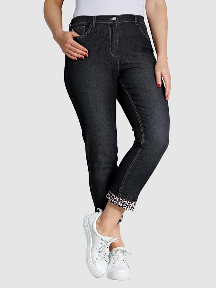 MIAMODA Jeans mit Umschlag in Leomuster, Black stone