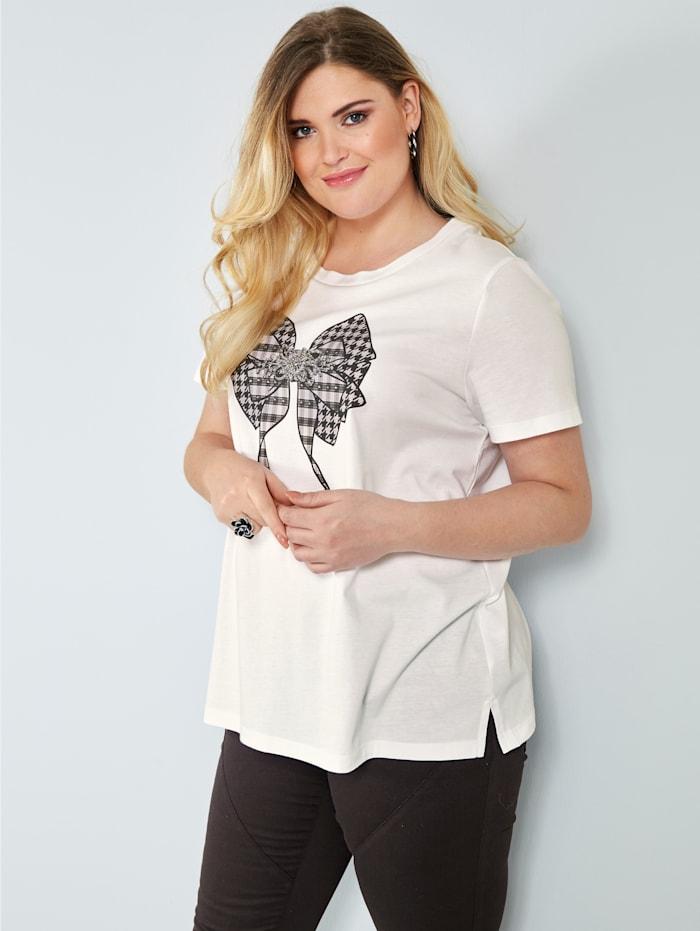 Sara Lindholm Shirt aus reiner Baumwolle, Weiß/Schwarz