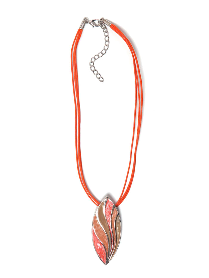 Collezione Alessandro Kurze Kette Cleo mit ovalem Anhänger, orange