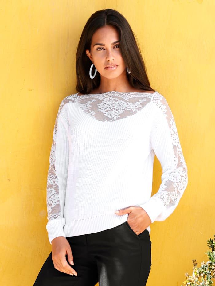 AMY VERMONT Pullover mit Spitze am Ausschnitt, Weiß