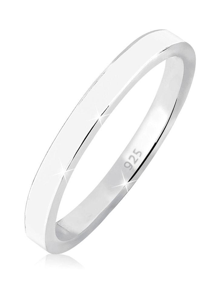 Elli Ring Stapelring Basic Emaille 925 Silber, Weiß
