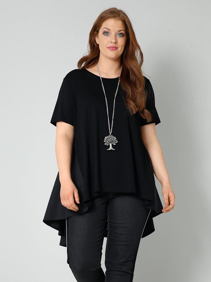 Sara Lindholm Shirt met inzet van weefstof, Zwart