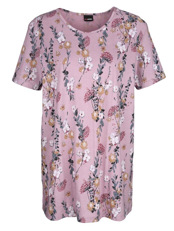 MIAMODA Dlouhé tričko s květinovým potiskem, Hnědo fialová