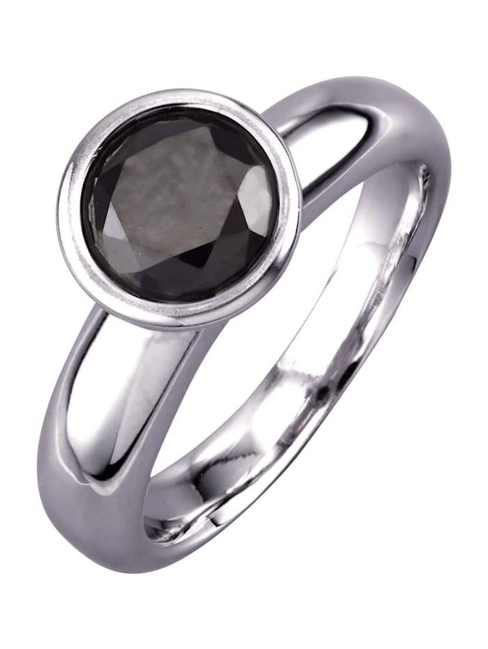 Diemer Diamant Damesring met zwarte briljant, Zwart
