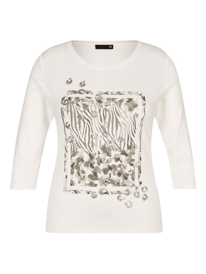 Thomas Rabe Shirt mit Front-Print und Dekosteinen, NATUR