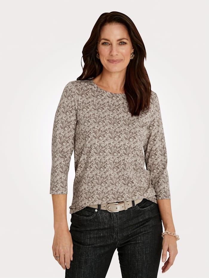 MONA Shirt mit Ziersteinchen, Taupe