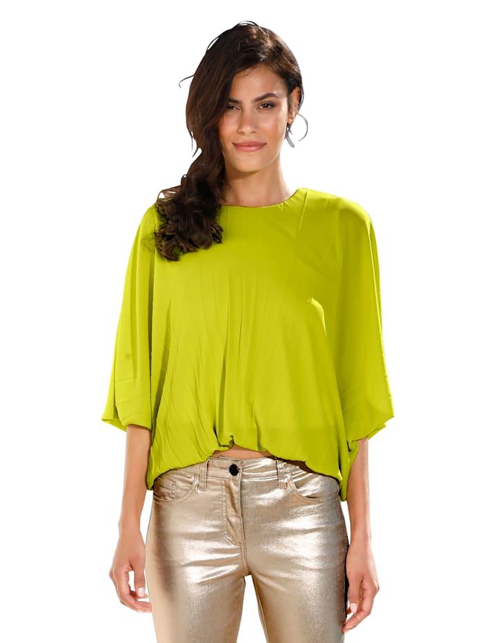 AMY VERMONT Bluse mit plissiertem Vorderteil, Limettengrün