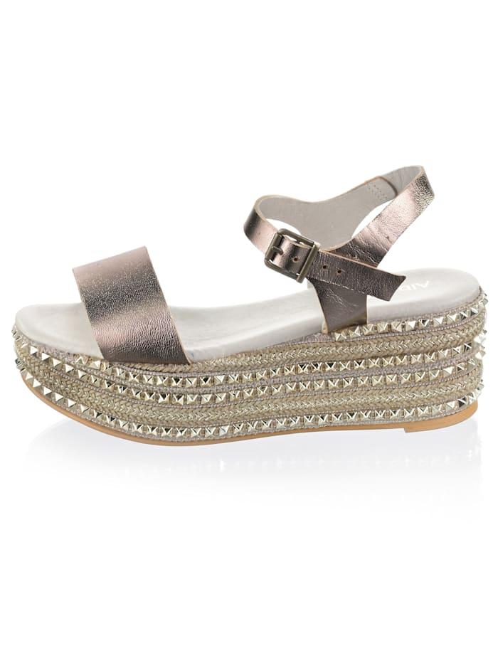 Sandales en cuir perlato