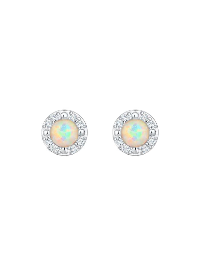 Ohrringe Stecker Opal  Kristalle Zart 925 Silber
