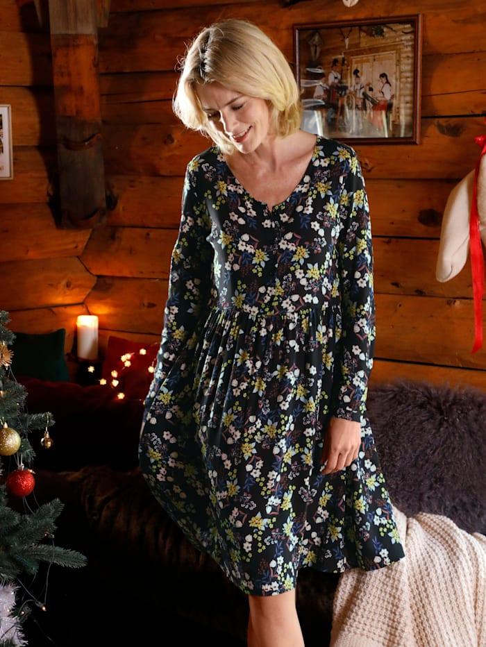 Dress In Kleid mit schönem Blumenprint, Schwarz