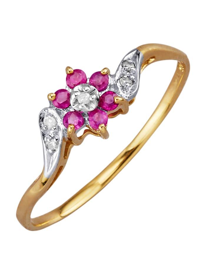 Kukkasormus rubiinein ja timantein, Punainen