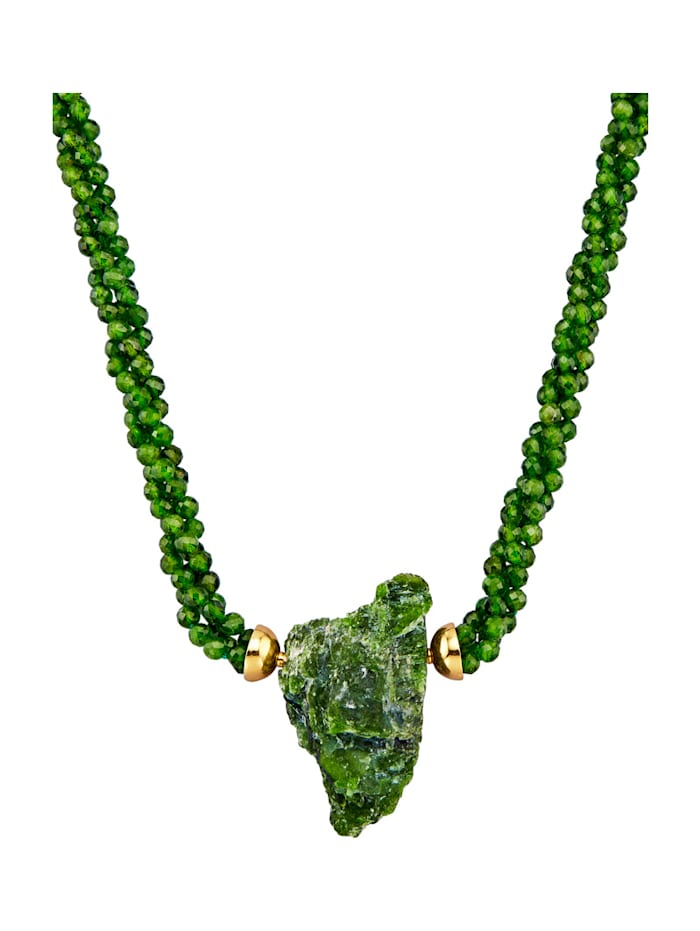 Diemer Farbstein 3-rijige ketting, Groen