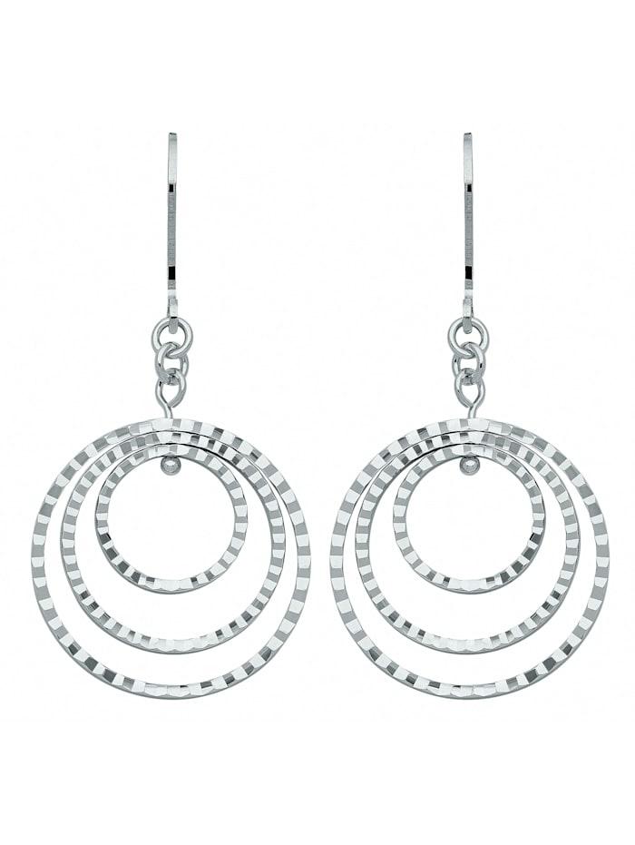 1001 Diamonds Damen Silberschmuck 925 Silber Ohrringe / Ohrhänger Ø 22,1 mm, silber