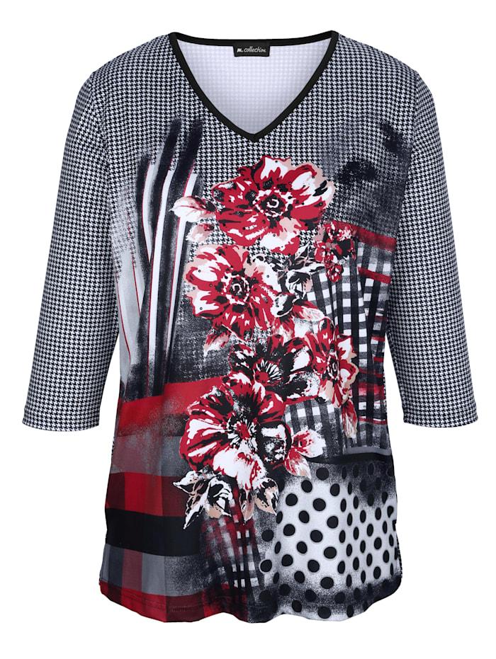 m. collection Shirt mit Pepita-Druckmuster rundum, Weiß/Schwarz/Rot