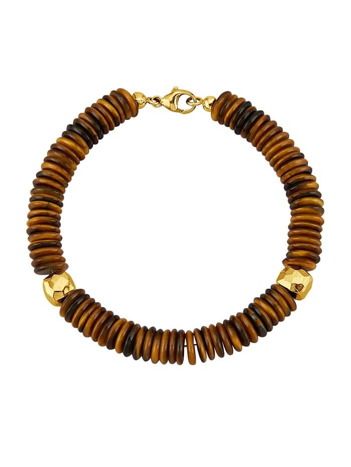 Armband van tijgeroogschijfjes, Bruin