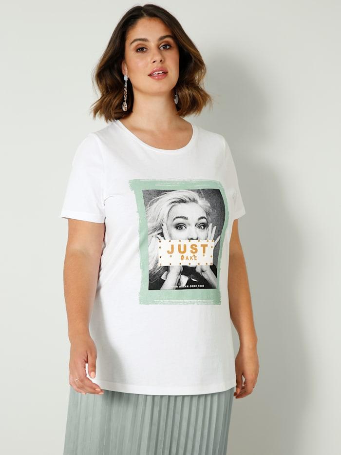 Sara Lindholm Shirt mit platziertem Druckmotiv, Weiß/Jade