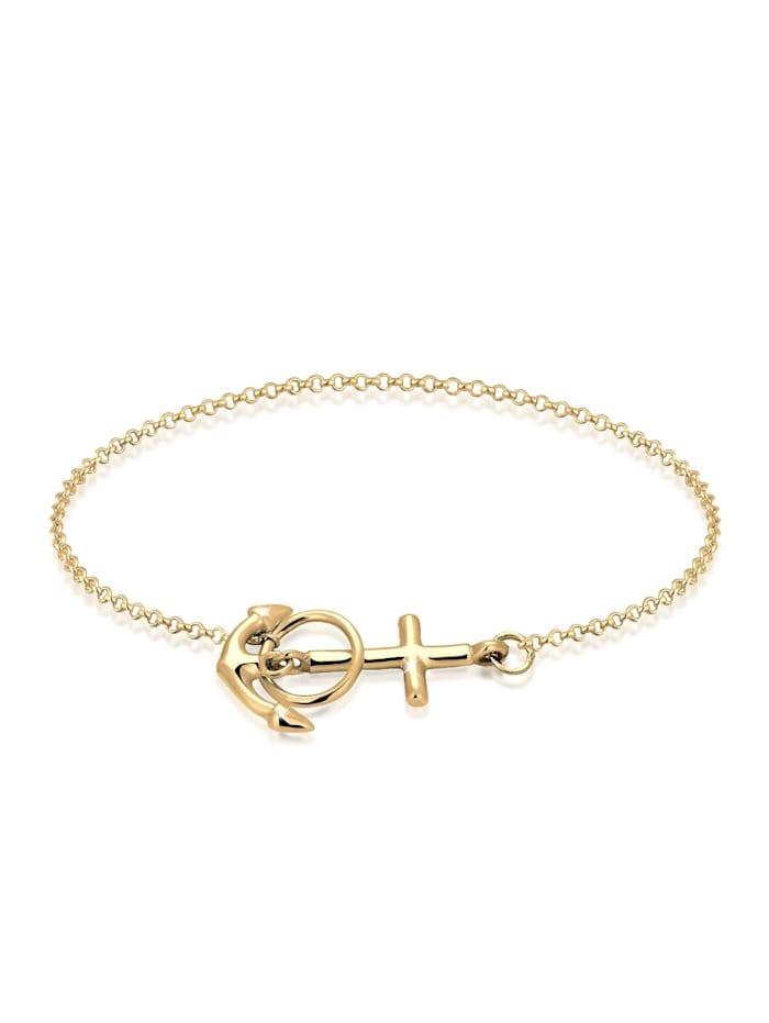 Elli Armband Anker Kreuz 925 Sterling Silber, Gold
