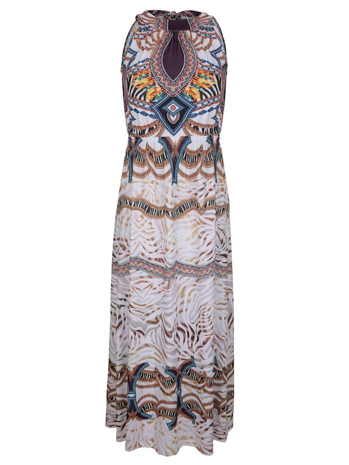 Alba Moda Strandkleid mit ausdruckstarkem Druck, Weiß-Bunt