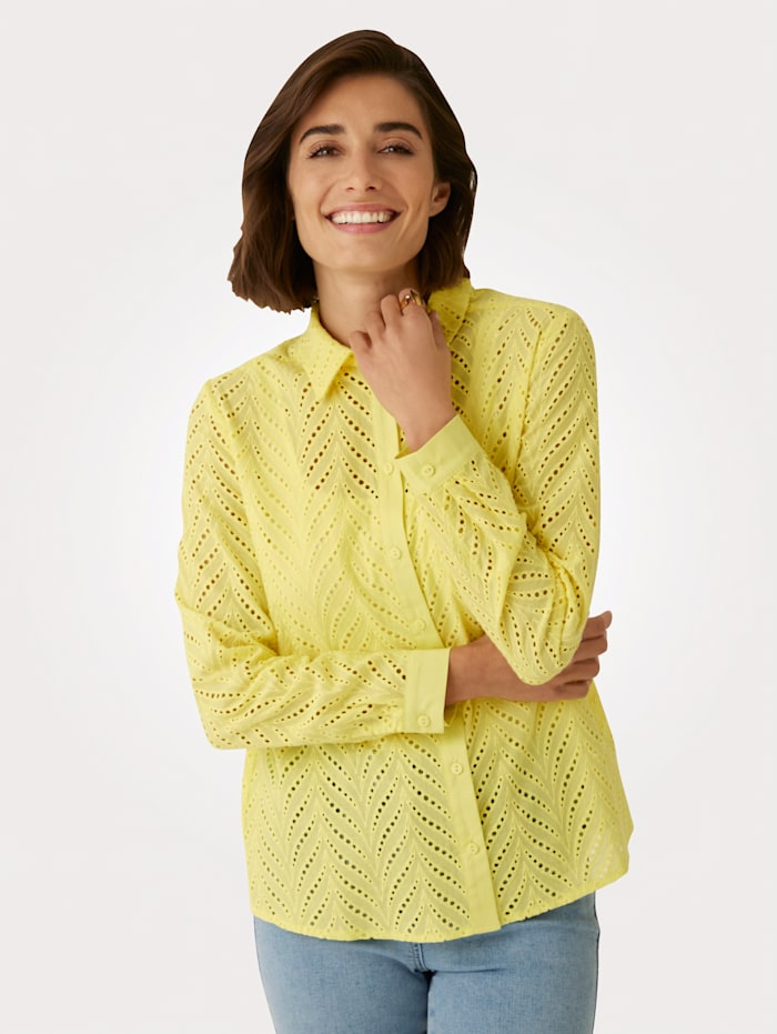 MONA Bluse allover aus Madeira-Spitze, Gelb