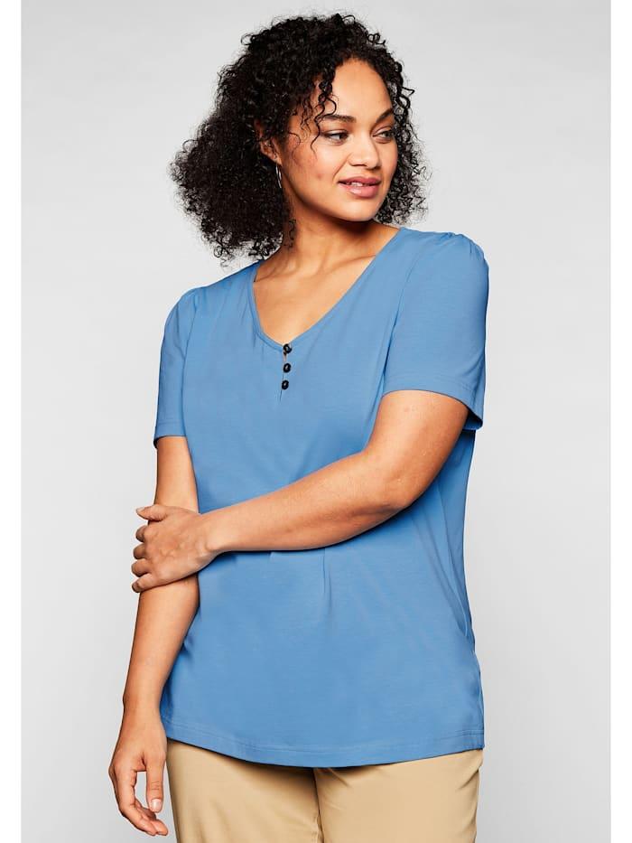 Sheego Sheego T-Shirt mit leichten Puffärmeln und kurzer Knopfleiste, jeansblau